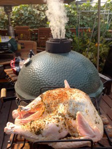 Big Green Egg Stabilized and Cherry Wood Chips are Added for Flavor