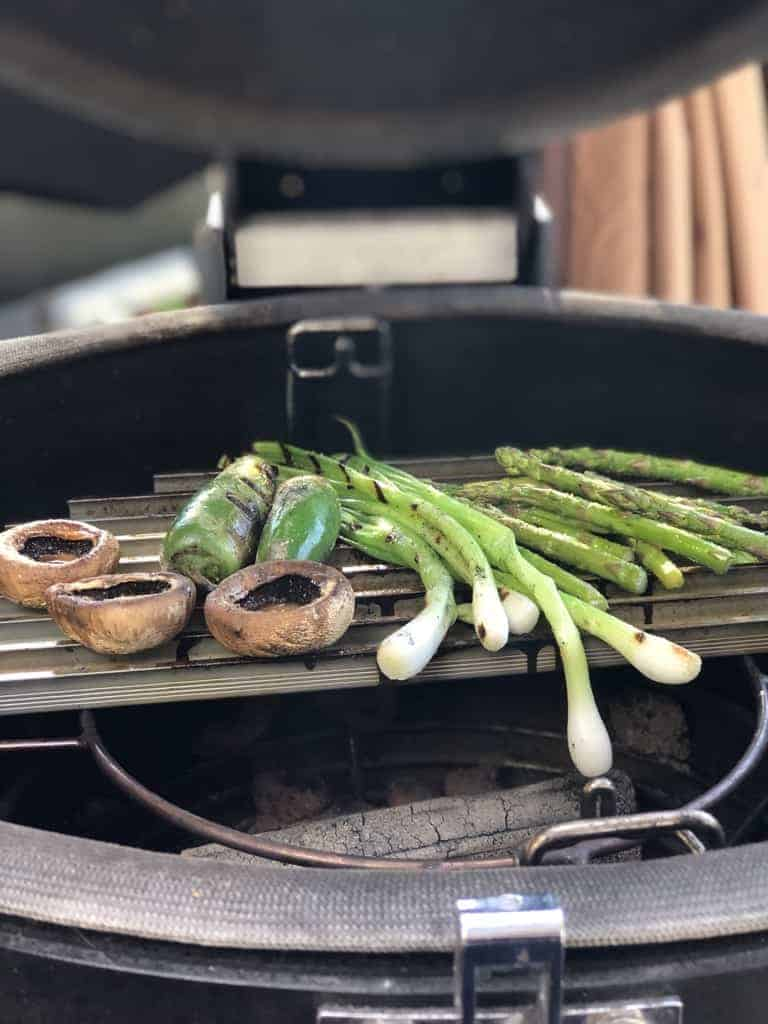 GrillGrates cooking vegetables on the kamado grill