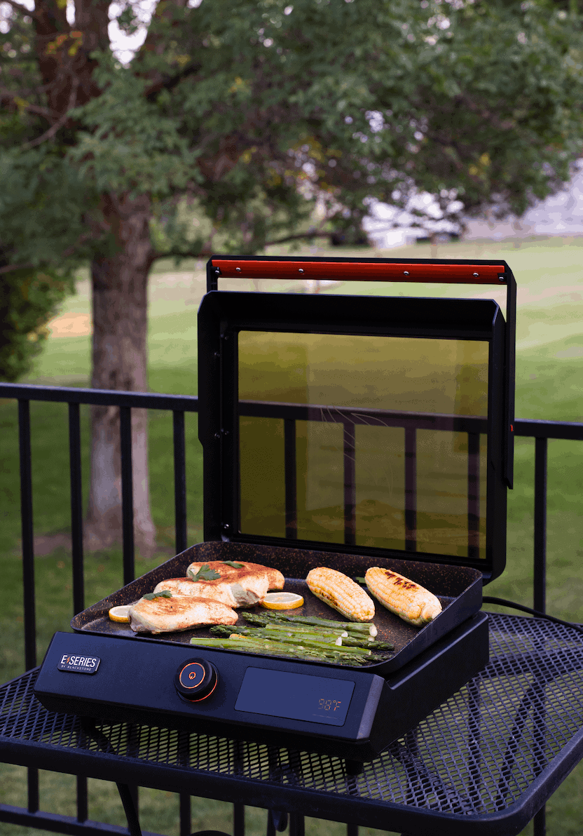Electric griddle on patio